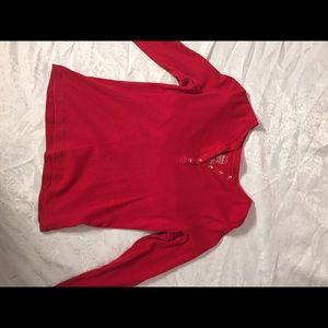 Red long sleeve with crystal buttons